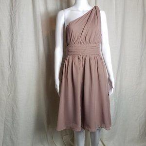 Tevolio one shoulder chiffon formal midi dress